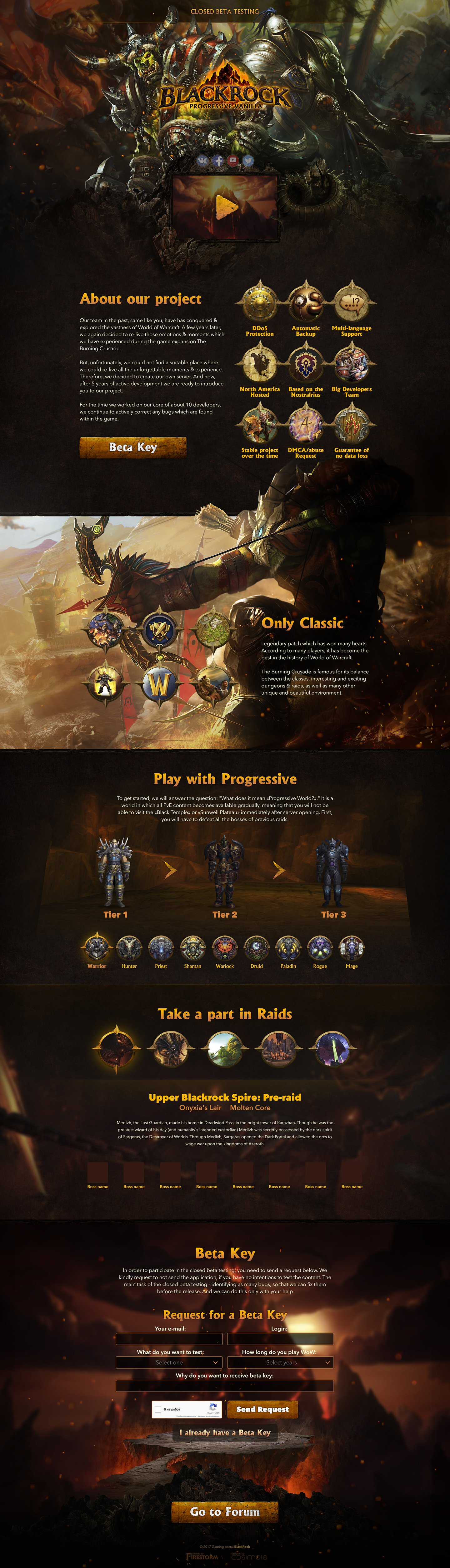 BlackRock > Landing page for private server World of Warcraft
