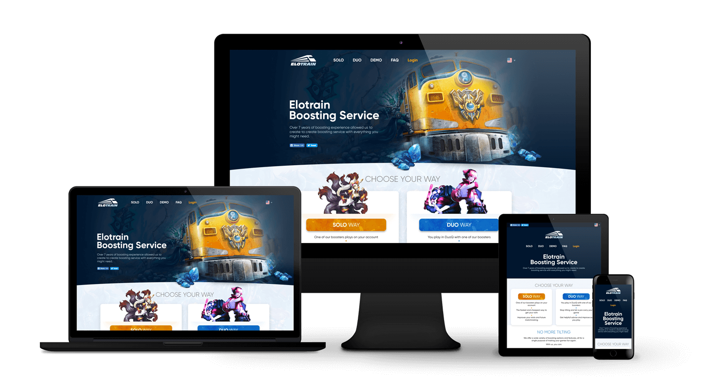 Elotrain > Website design for League of Legends boosting service. Adaptive for any device