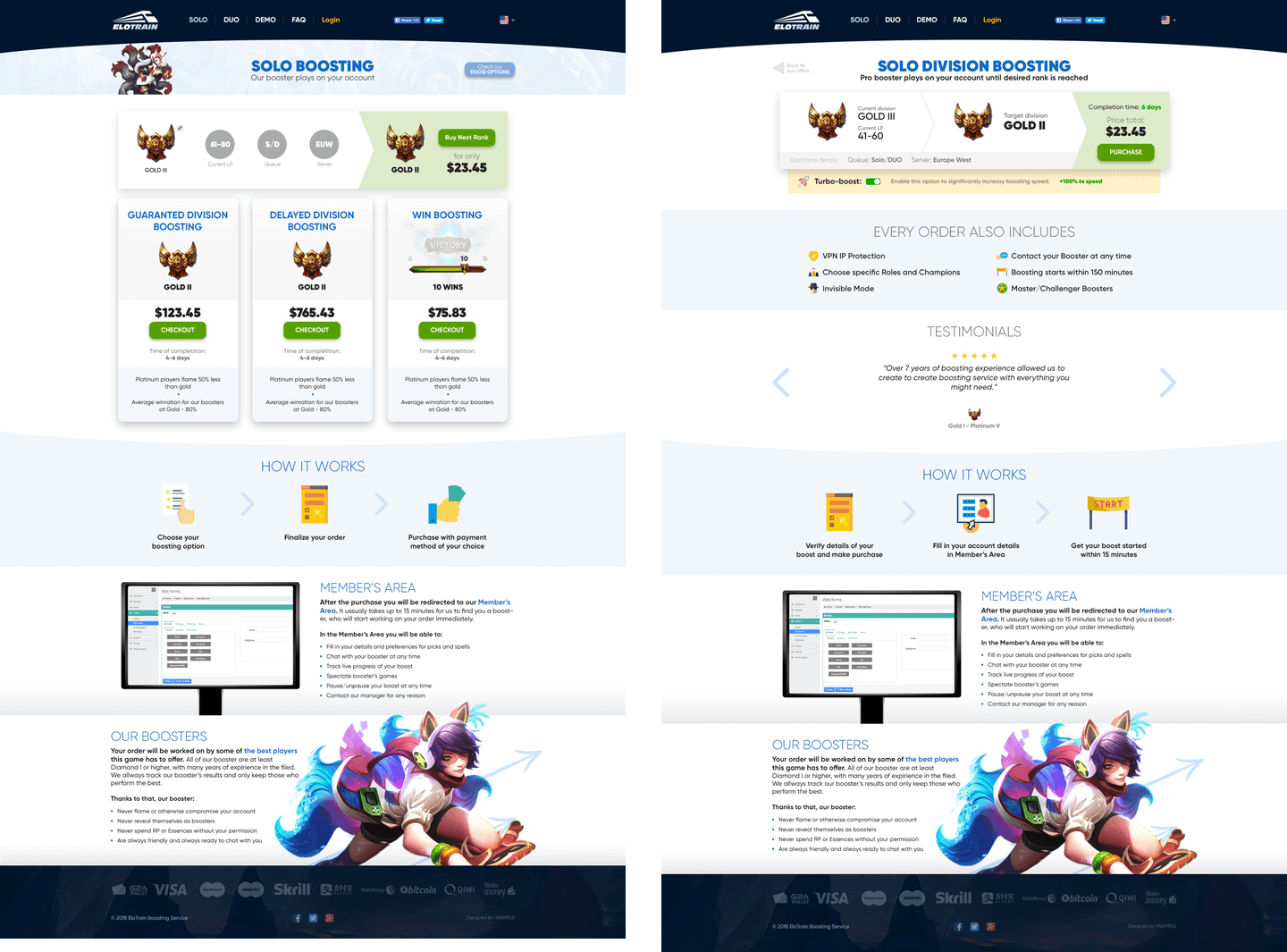 Elotrain > Website design for League of Legends boosting service. Inner pages