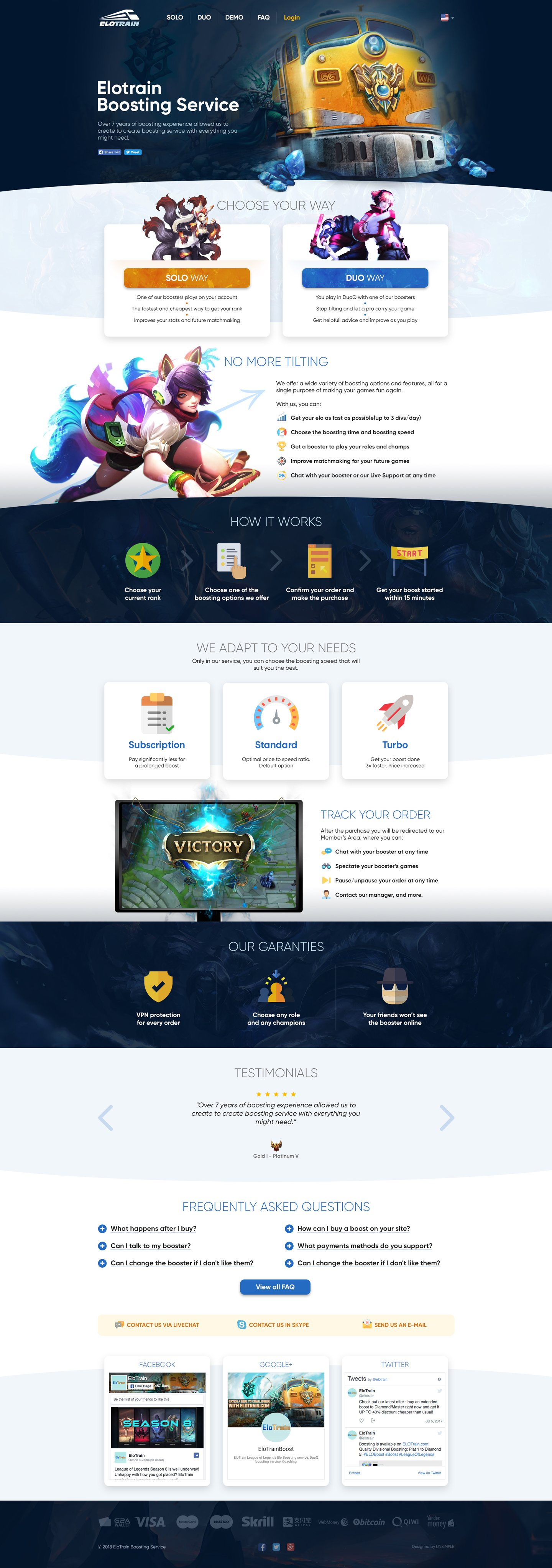 Elotrain > Website design for League of Legends boosting service. Main page