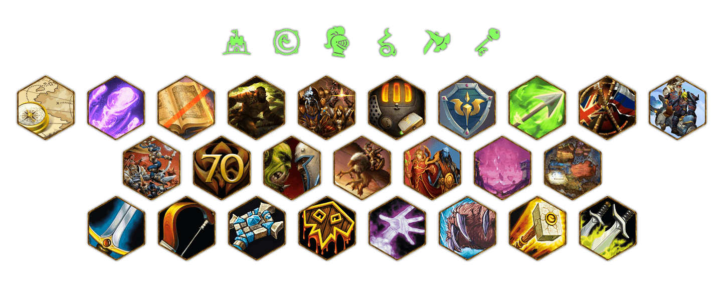Etherside > Landing page for private server World of Warcraft. Icons for the page