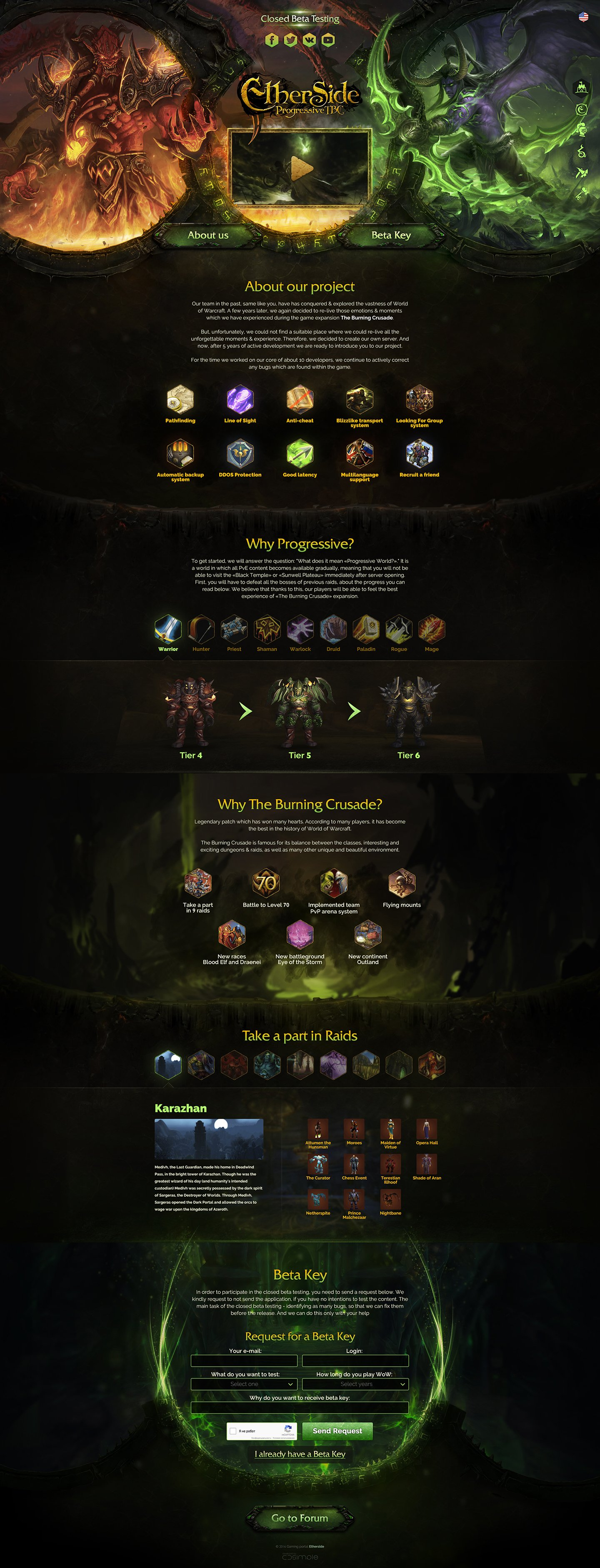 Etherside > Landing page for private server World of Warcraft. Landing page