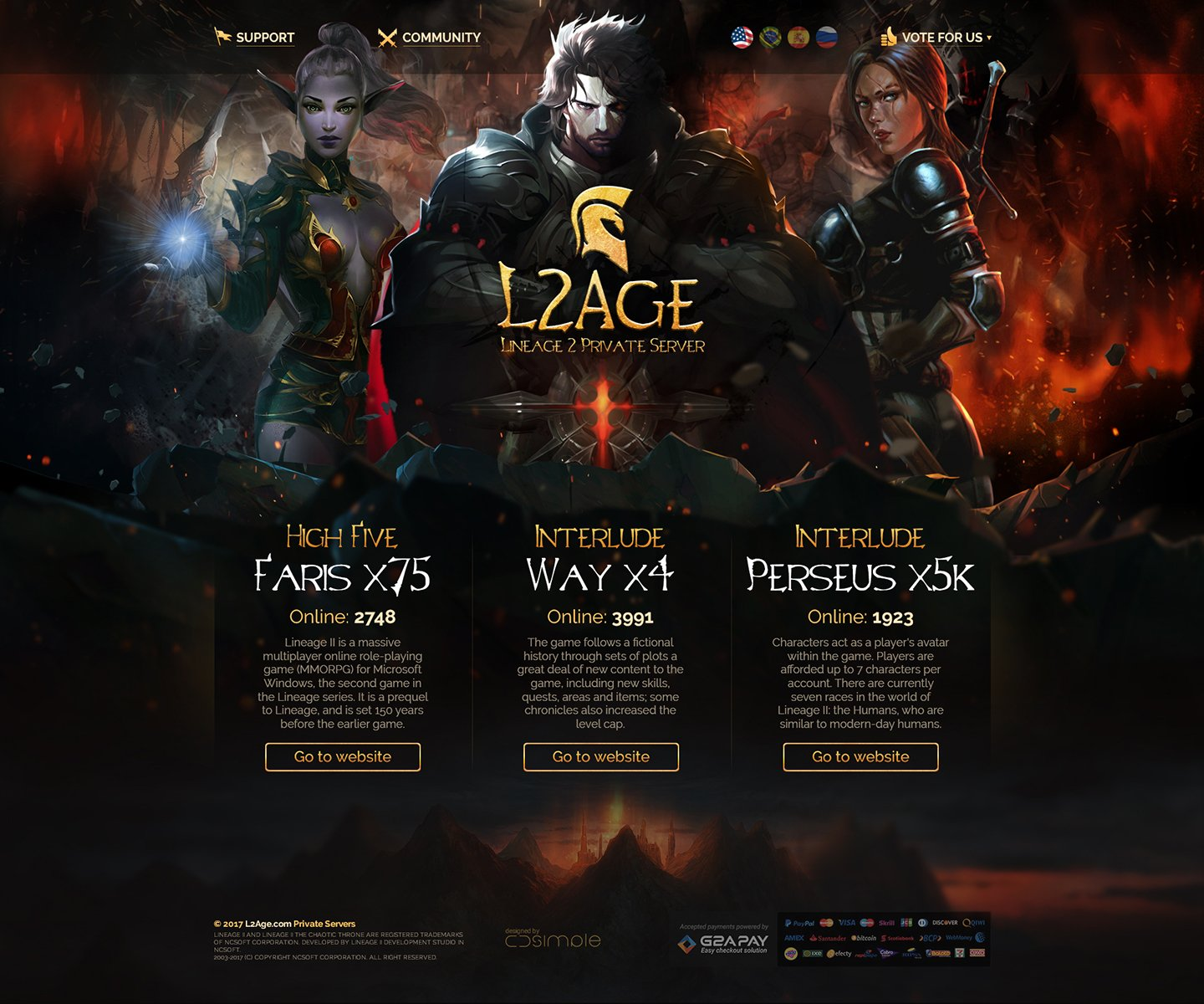 L2Age > Website design for Lineage 2 private  server. Main page