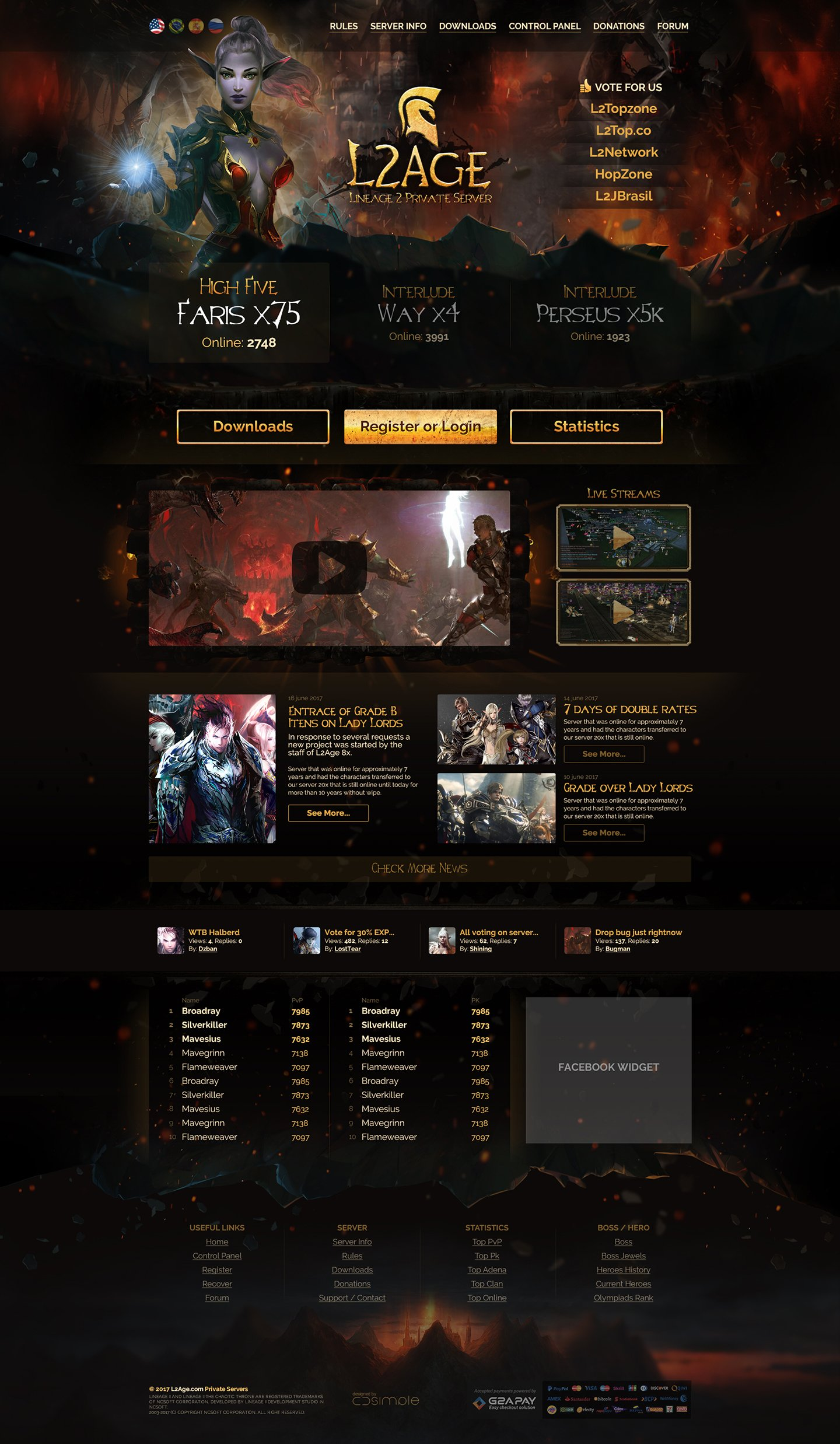 L2Age > Website design for Lineage 2 private  server. Server page