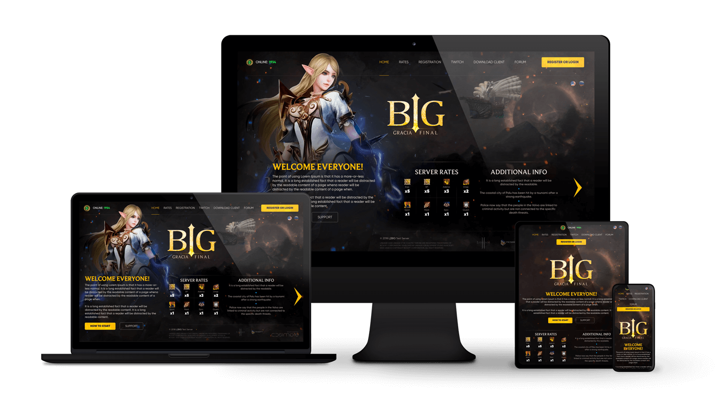 L2Big > Website for Lineage 2 private server. Adaptive for any device