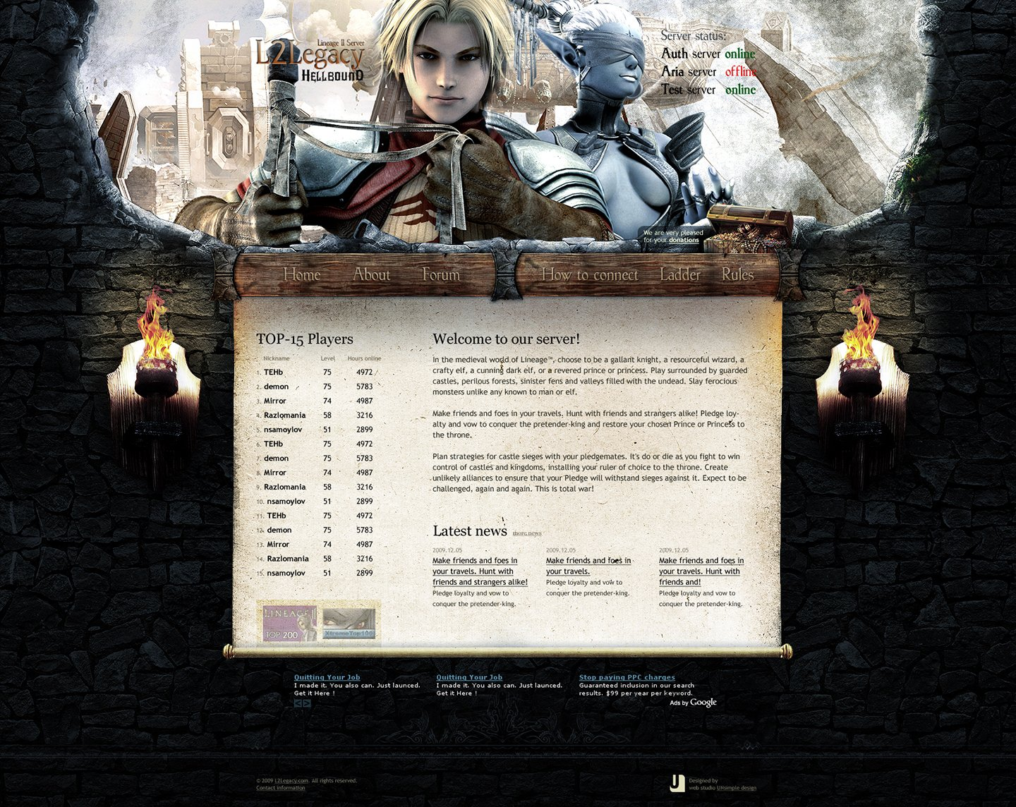L2Legacy > Website design for Lineage 2 private server. Main page