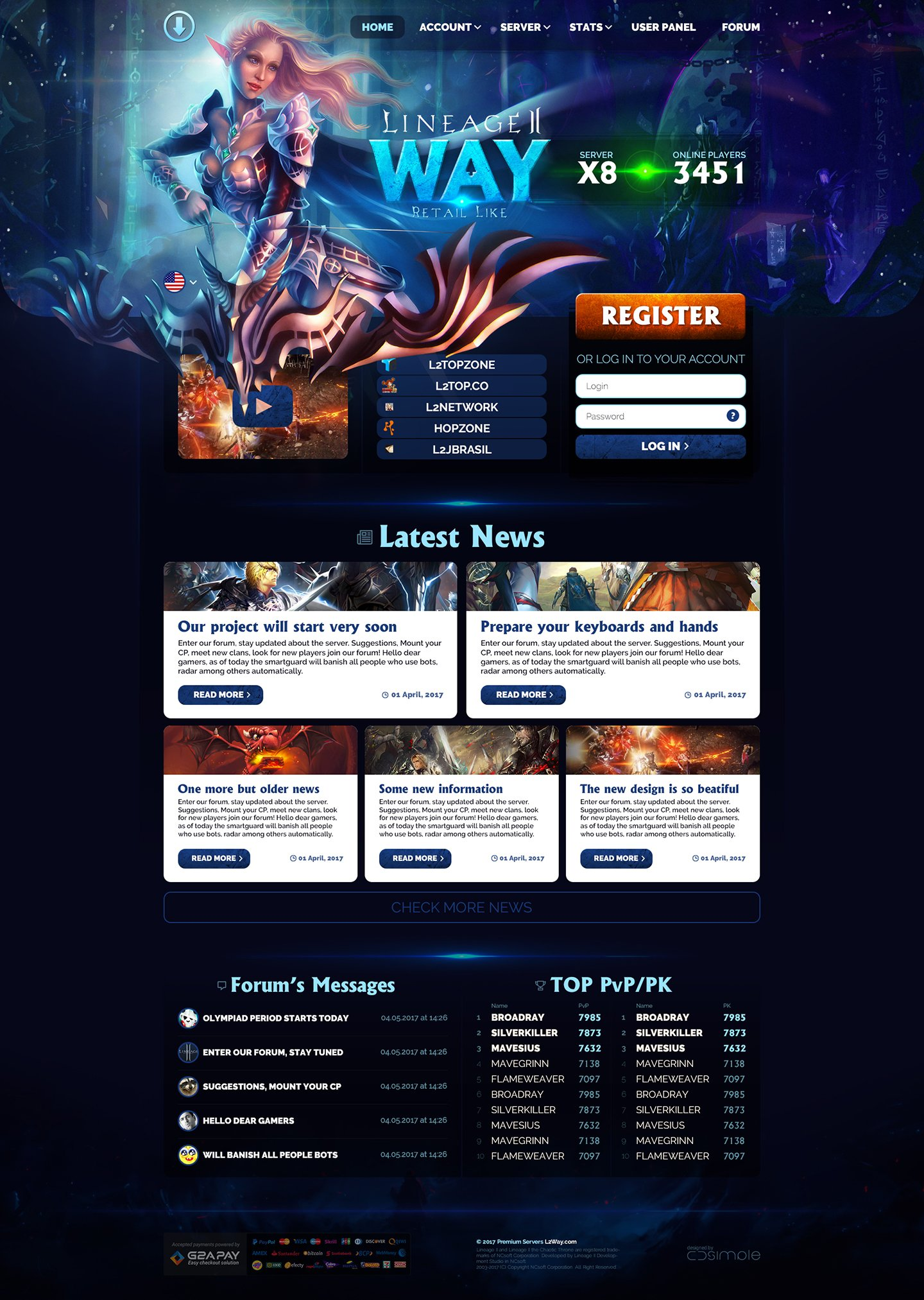 L2Way > Website design for Lineage 2 private  server. Main page