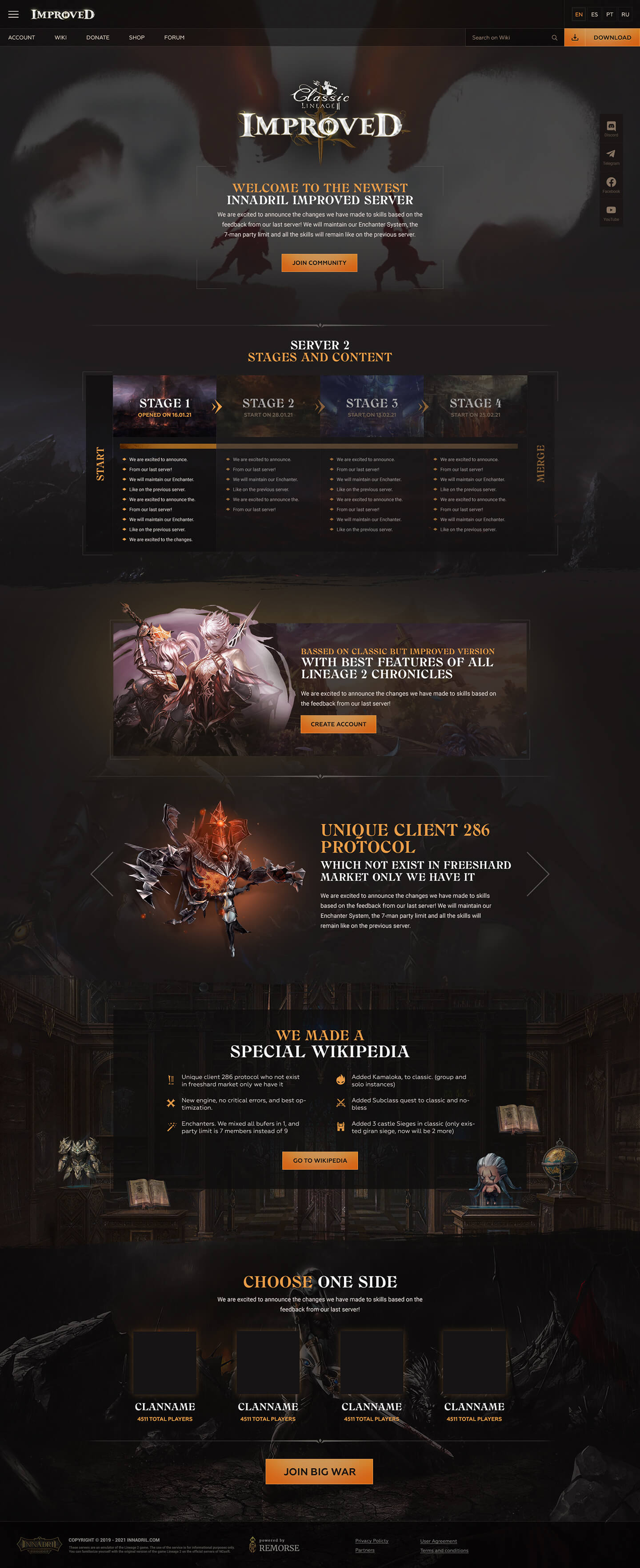 Innadril.Improved > Landing page for Lineage 2 private server. Landing page