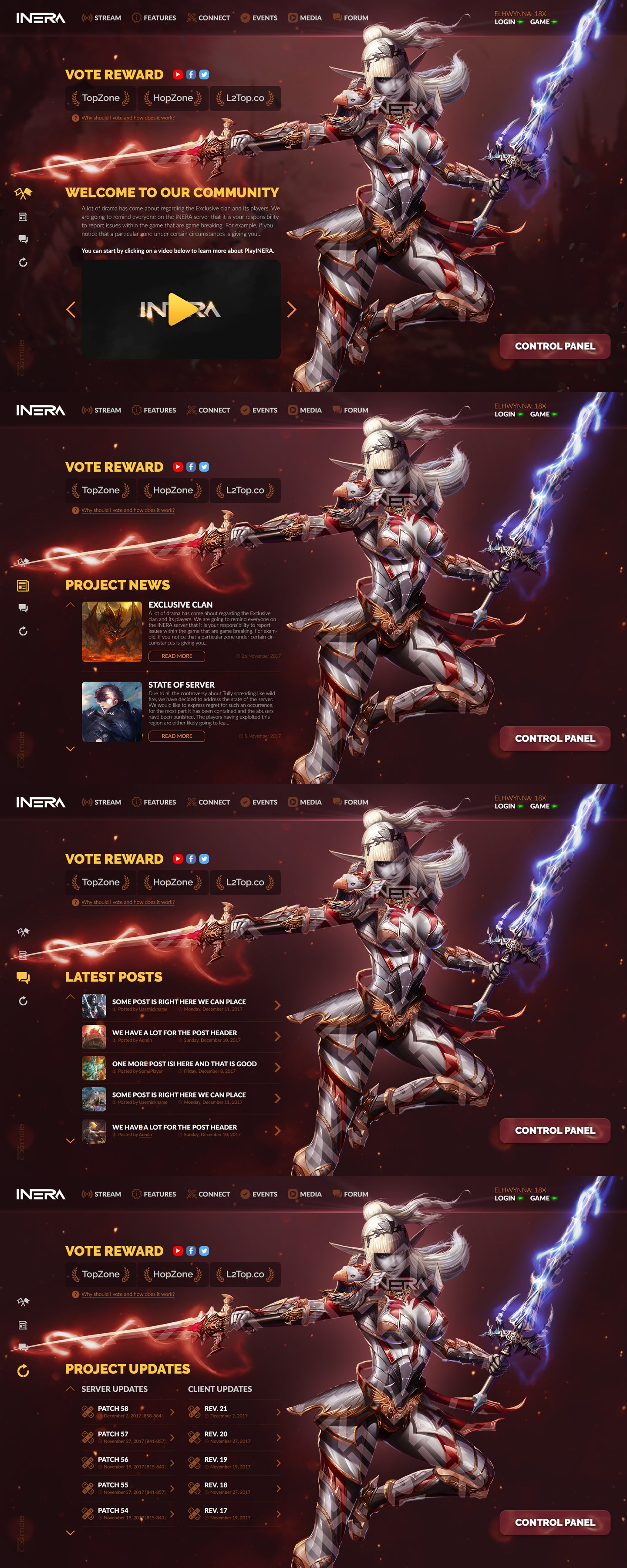 PlayInera > Website design for Lineage 2 private server