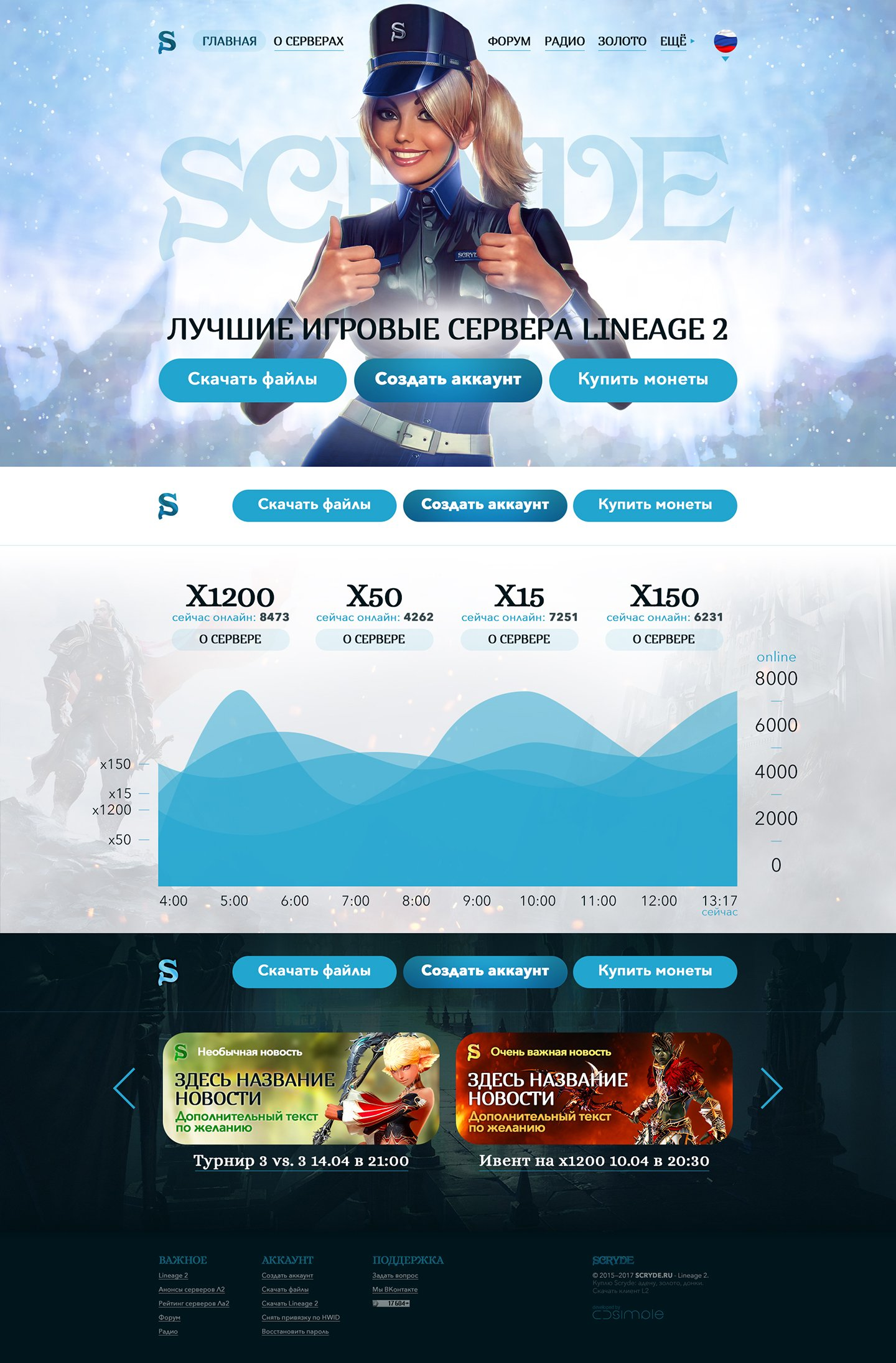 Scryde > Website design for Lineage 2 private  server. Main page