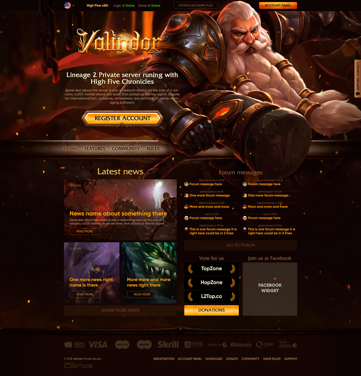 Valindor > Website design and promo page for Lineage 2