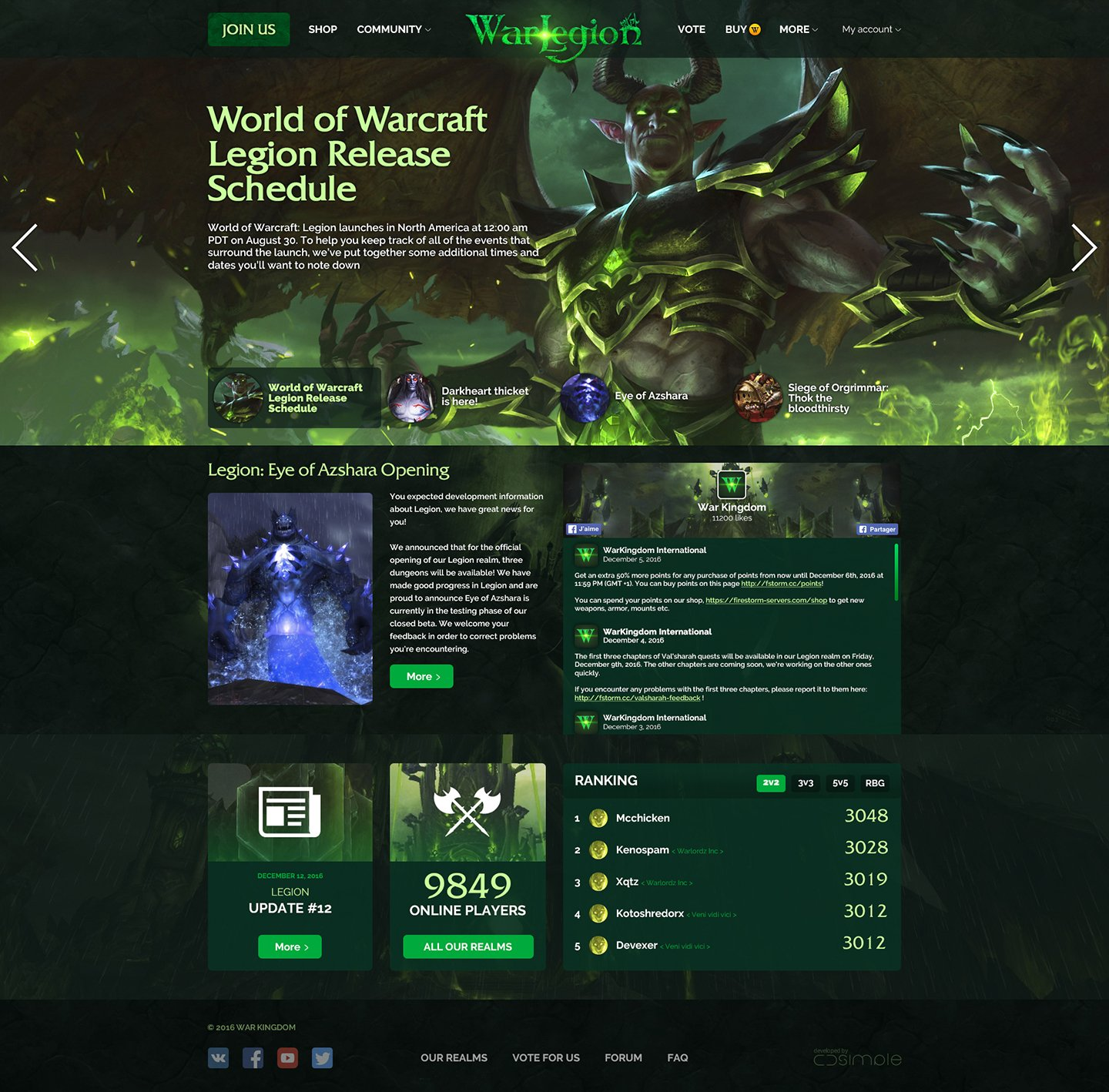 WarLegion > Website for private server World of Warcraft. Main page