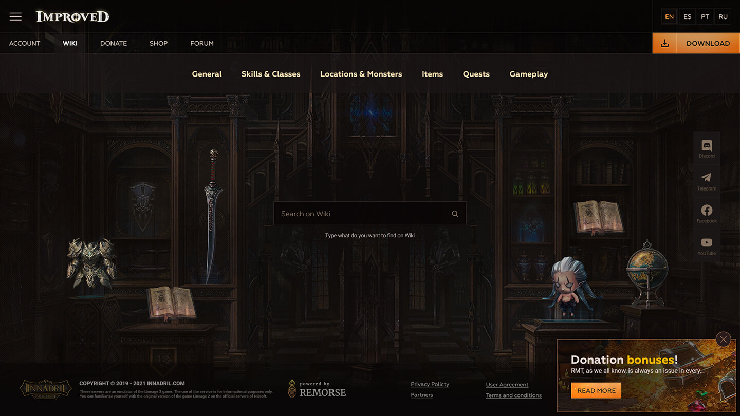 Innadril > Website design for Lineage 2 private server. Wiki section